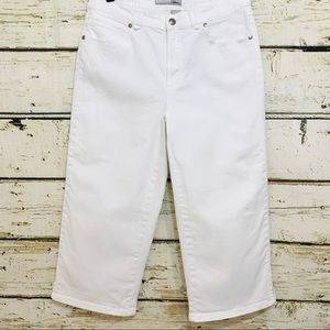 CHICO'S crop pants white denim embroidered Sz 0.5